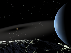 View of Epsilon Eridani and its dust cloud from the moon of a supposed second planet.